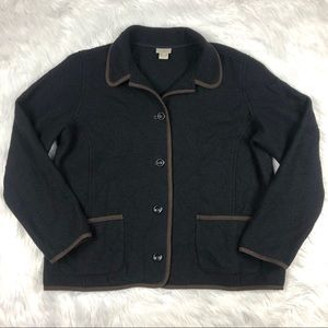 Womens Vtg  LL Bean 100% Boiled Wool Jacket Black
